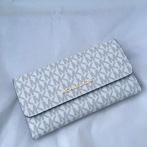 Michael Kors Large Trifold Wallet Vanilla/Brown